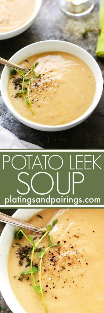 This Healthier Creamy Potato Leek Soup uses fat-free Greek yogurt instead of heavy cream and doesn't skimp on the flavor! Shallots, saffron and cayenne are all used to spice up this creamy soup.   platingsandpairings.com