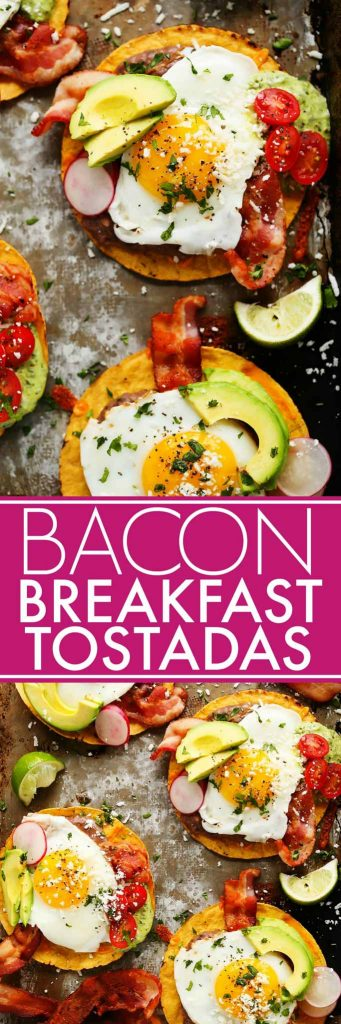 These Bacon Breakfast Tostadas are perfect for serving a group at brunch because everyone can customize their toppings & the style of eggs that they prefer. | platingsandpairings.com