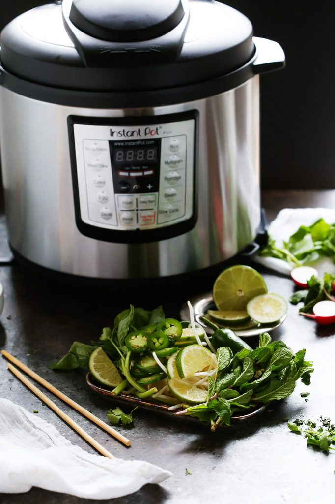 This Instant Pot Chicken Pho makes the traditional Vietnamese chicken noodle soup easy to make at home in around 30 minutes with the help of your pressure cooker. | platingsandpairings.com