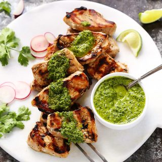 Grilled Pork Medallions with Mojo Sauce