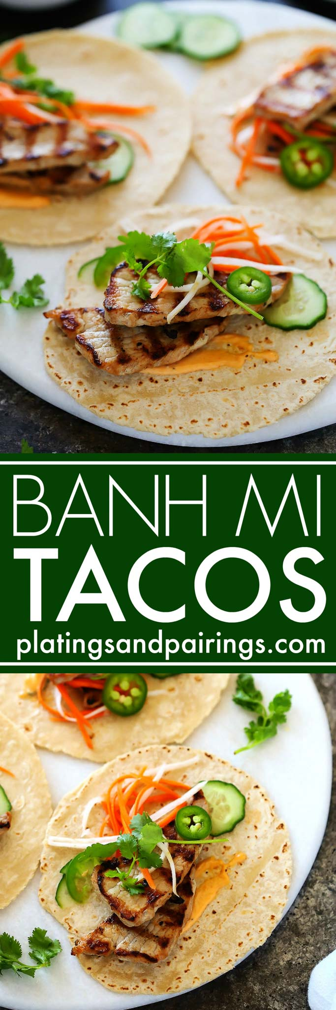 These Banh Mi Pork Tacos are perfect for grilling season and can be made in under 30 minutes! Tender grilled pork is topped with quick-pickled vegetables, hot chili mayo, jalapenos and cilantro. It's your favorite sandwich, in taco form! | platinigsandpairings.com