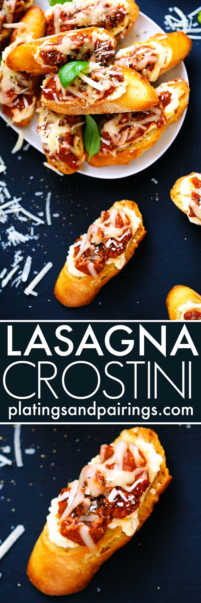 These Lasagna Crostini are a perfect make ahead party appetizer. The Italian meat sauce, creamy ricotta and melty mozzarella cheese are irresistible. Pair them with Chianti for a delicious treat! | platingsandpairings.com