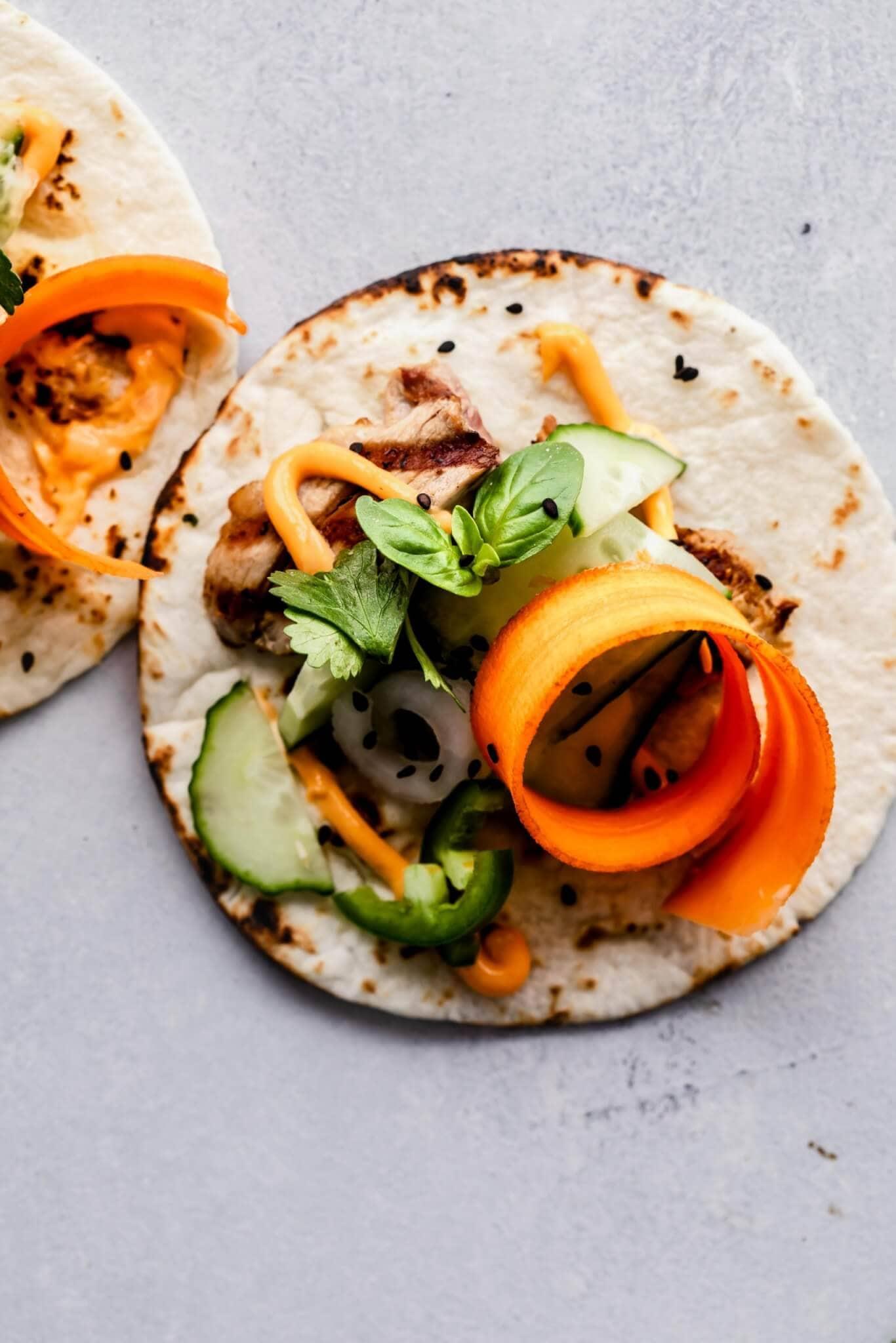 Close up of banh mi taco