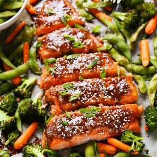One Pan Miso Glazed Salmon and Vegetables