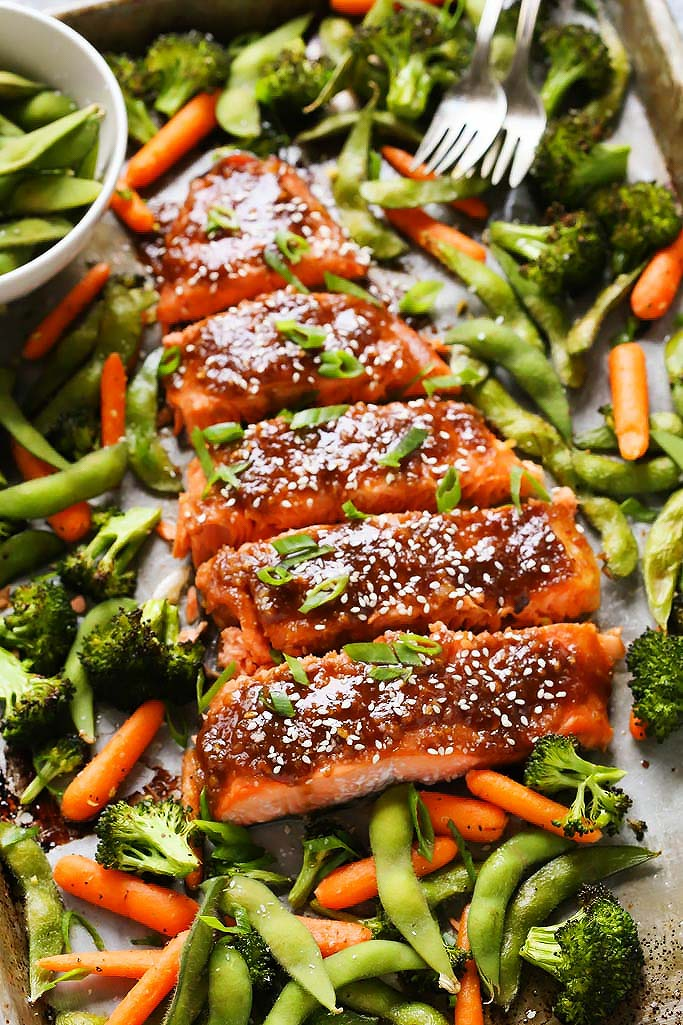 One Pan Miso Glazed Salmon and Vegetables   Platings ...