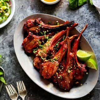 Grilled Lamb Chops with Spicy Peanut Sauce
