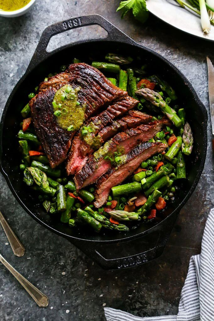 This One-Skillet Steak and Spring Vegetables with Mint Mustard Sauce is an elegant dinner that's easy enough for weekday entertaining. Steak, peas and asparagus cook up together in just one pan! | platingsandpairings.com