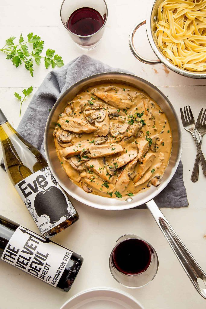 This chicken marsala recipe adds in dijon mustard & creamy mascarpone cheese. It's a rich dish that's easy to prepare but totally impressive. | platingsandpairings.com