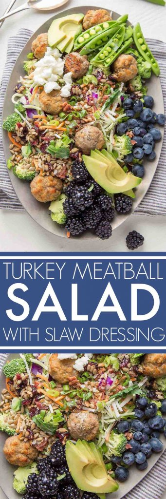 This Turkey Meatball Chopped Salad is loaded with veggies and topped with fresh blackberries, blueberries, avocado and goat cheese. | platingsandpairings.com