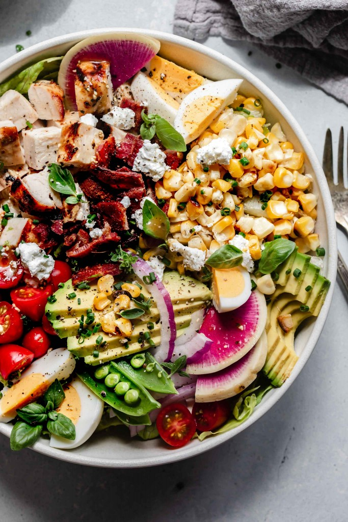 Close up of cobb salad in bowl.