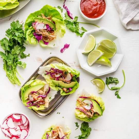 Instant Pot Salsa Chicken Taco Lettuce Wraps can be made in just 20 minutes with the help of your electric pressure cooker and five simple ingredients. | platingsandpairings.com
