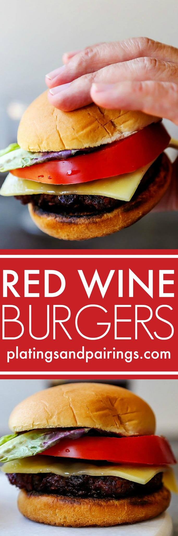 These Red Wine Burgers are decadent treat for your summer BBQ. Seasoned with a red wine-shallot reduction, topped with melted cheese and served simply with a thick slice of tomato and lettuce. | platingsandpairings.com