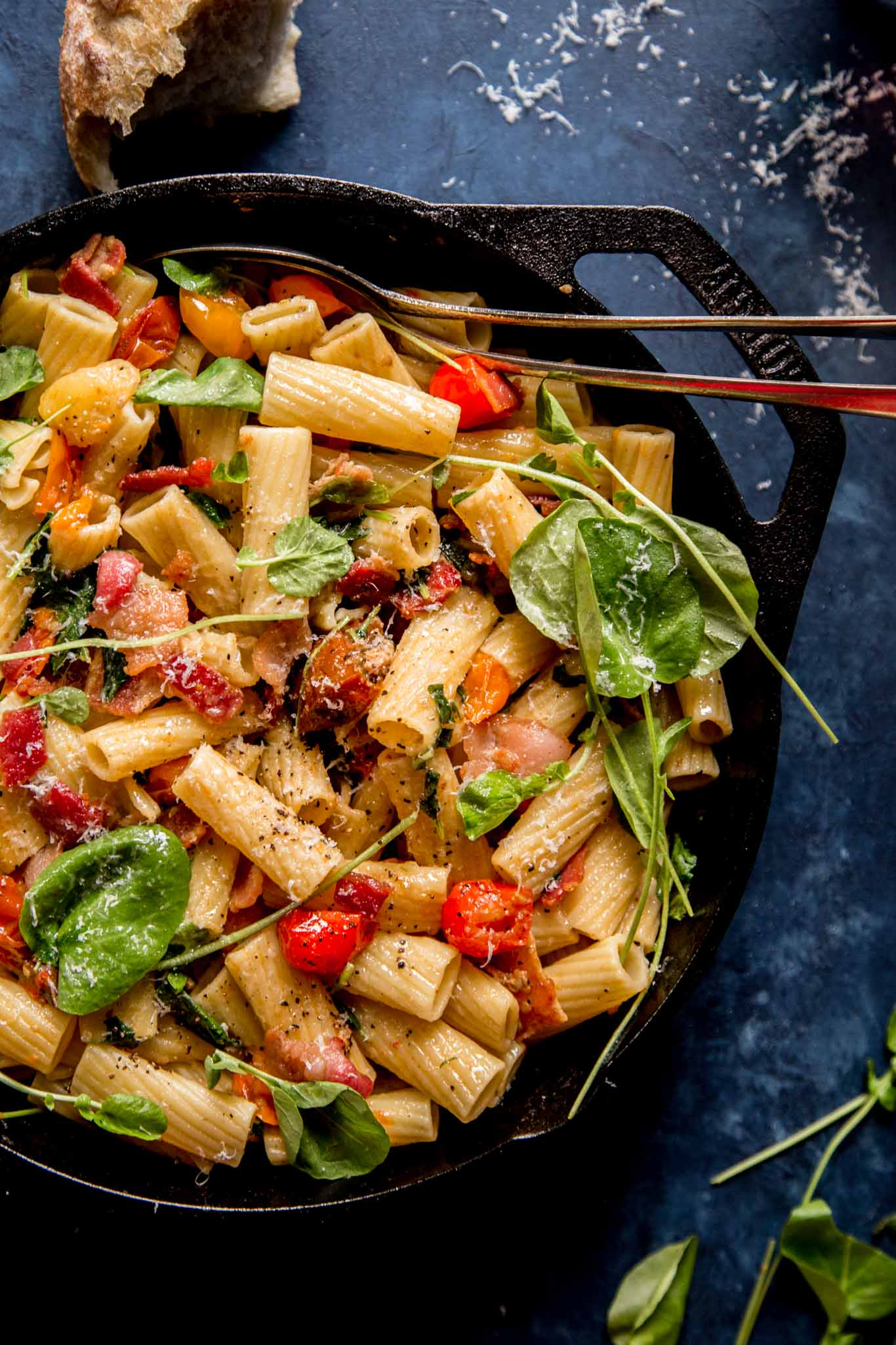 Make this BLT Pasta for a budget-friendly date night dinner at home. All the ingredients, including a bottle of wine, come in at under $30!