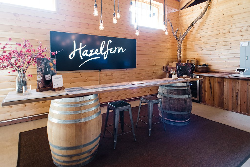 Hazelfern Cellars tasting room in Newberg, Oregon produces Rosé, Chardonnay & Pinot Noir. Winemaker/owners, Bryan & Laura Laing, are the nicest people too!