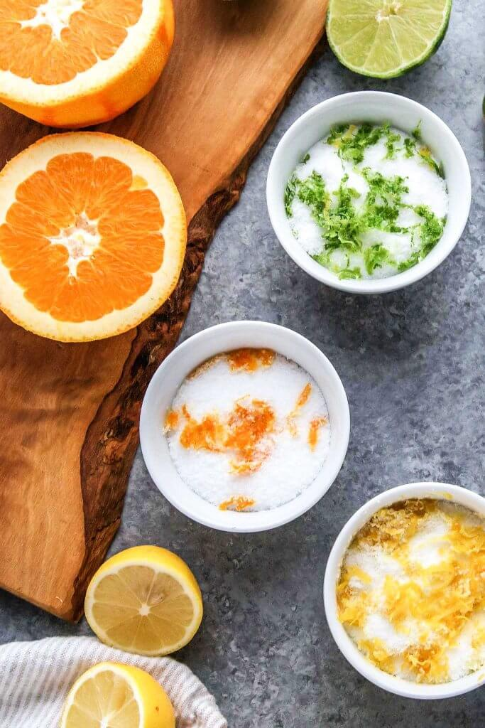 Easy Citrus Salts are simple to make at home using the zest of fresh citrus and coarse kosher salt. They make amazing DIY food gifts for Christmas too!