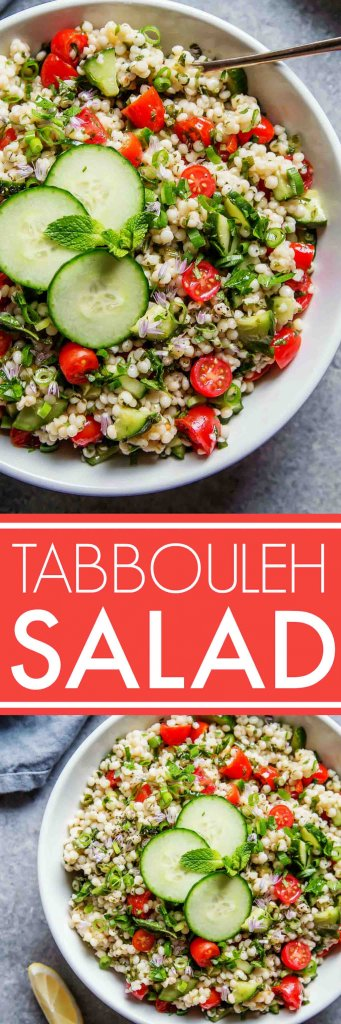 This Israeli Couscous Tabbouleh Salad recipe combines pearl couscous with tomatoes, cucumber, fresh herbs and a light citrus dressing. It's a perfect make-ahead salad recipe! | platingsandpairings.com