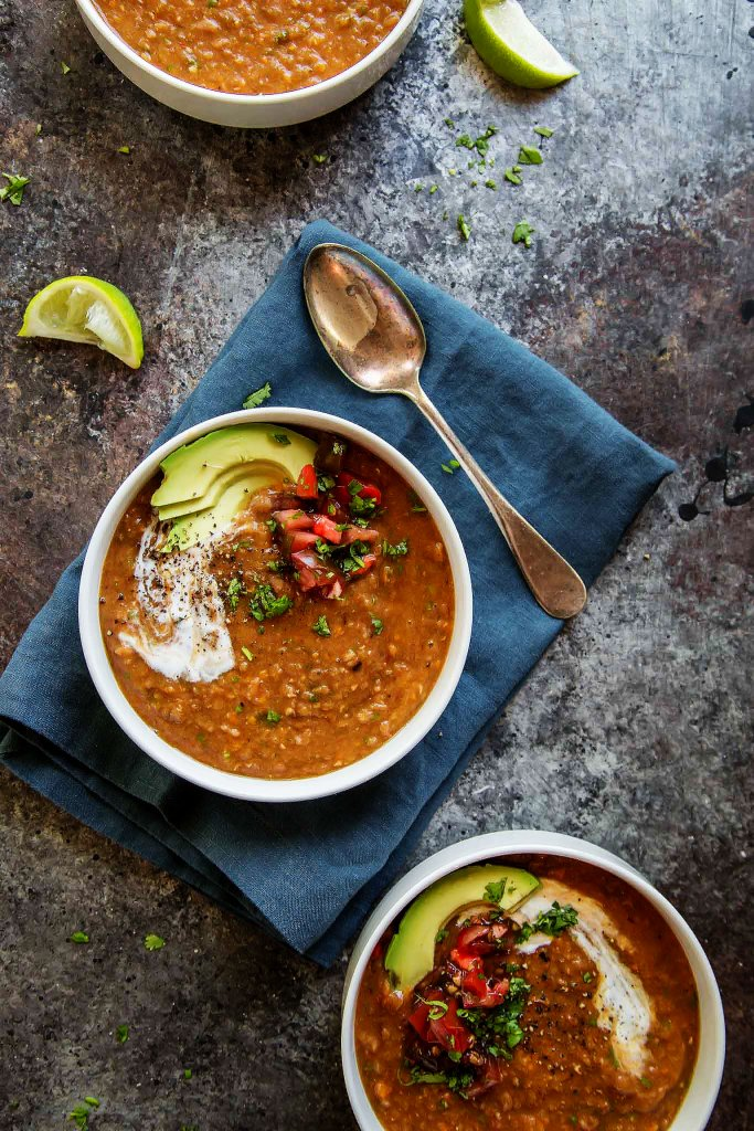 Slow Cooker Chipotle Lentil Soup is a warm and comforting hearty soup that's perfect for chilly Fall days! The chipotle peppers give it a bit of heat and a great smoky flavor. | platingsandpairings.com