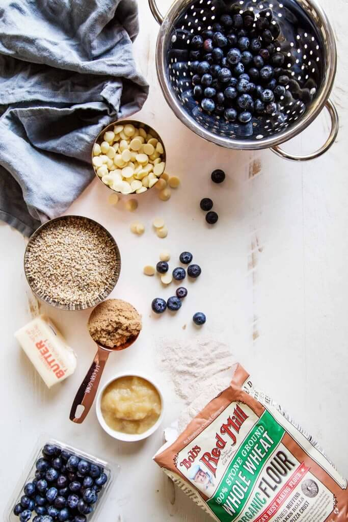 Ingredients for Blueberry & White Chocolate Quinoa Breakfast Cookies.