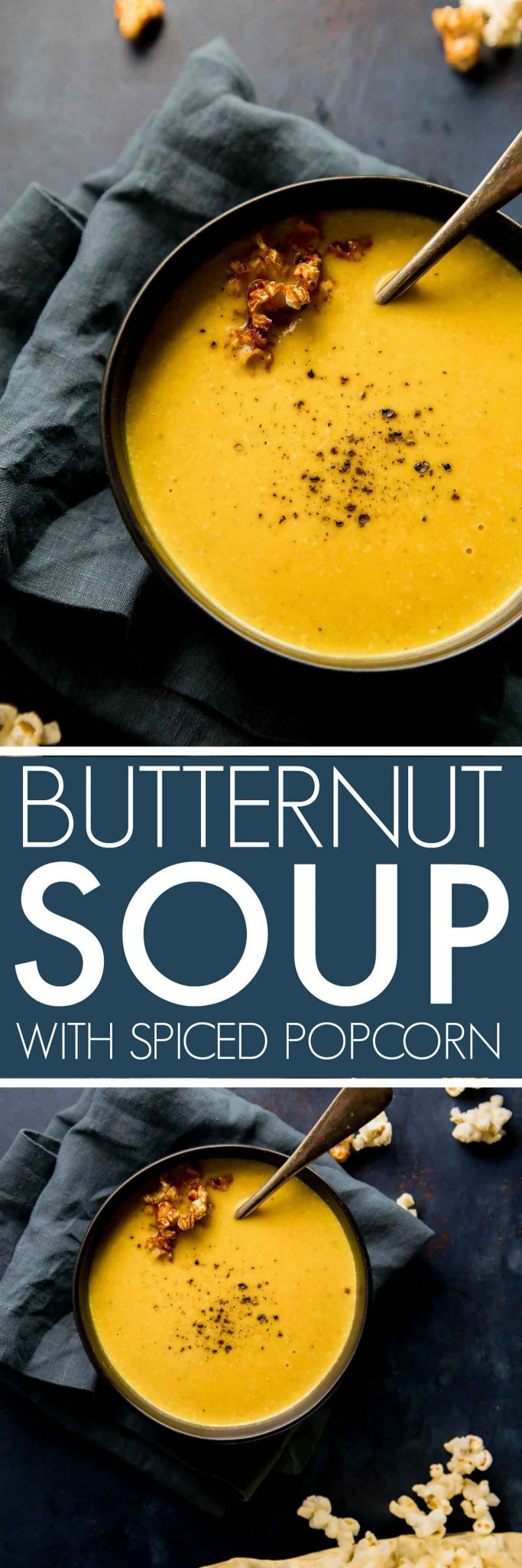This Curried Butternut Squash Soup, topped with smoked paprika spiced popcorn, is perfect for chilly fall days. | platingsandpairings.com #soup #butternutsquashsoup #butternutsoup