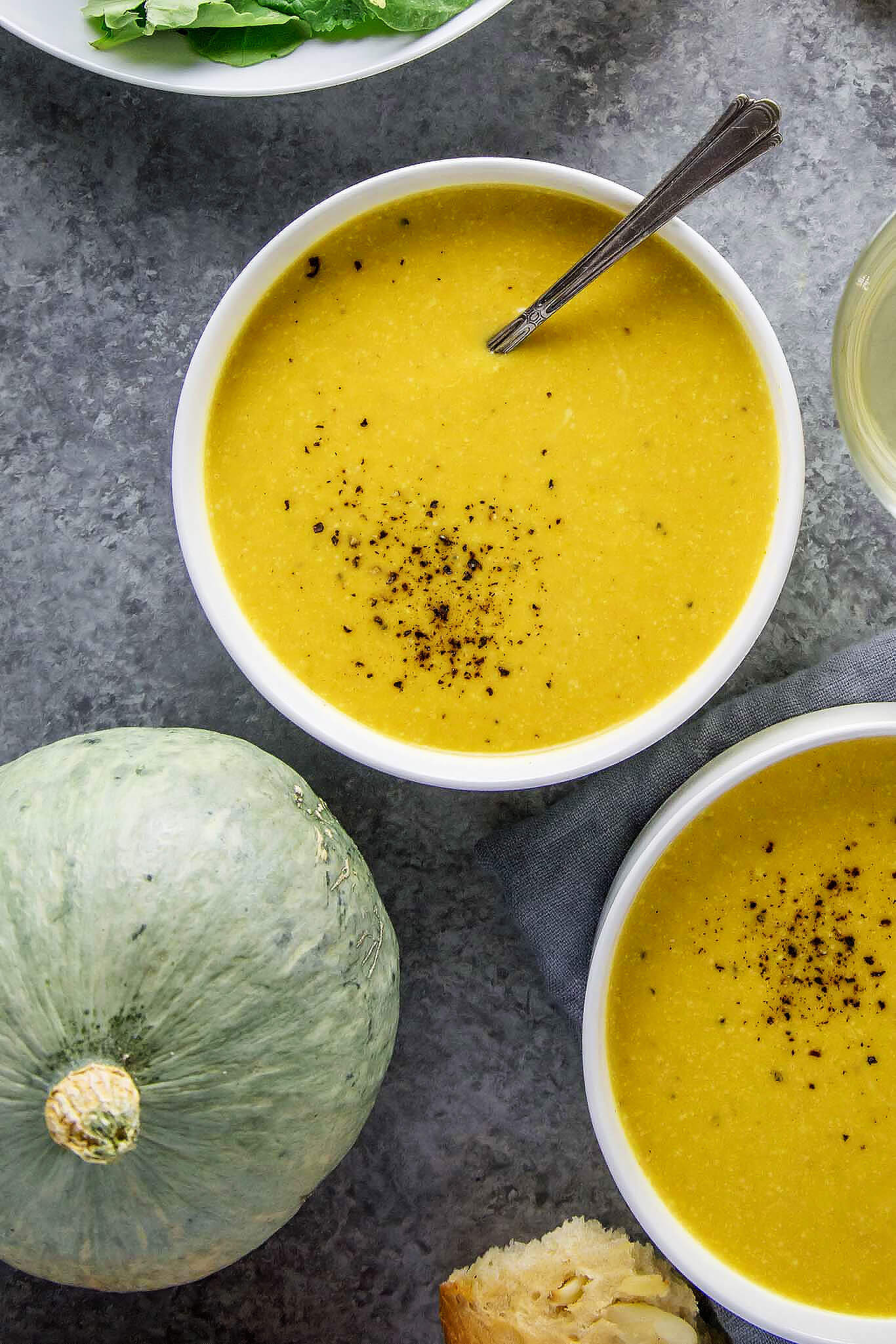 butternut-soup-squash-salad-bread-in-background