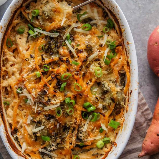 overhead shot spiralized sweet potato au gratin