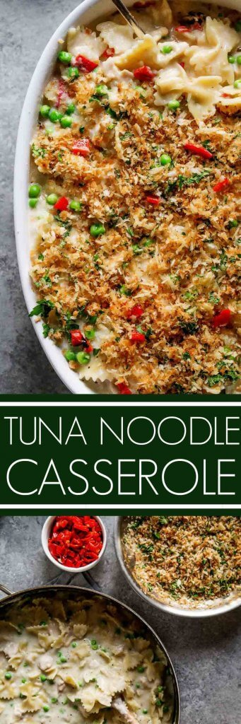 Tuna Noodle Casserole with Piquillo Peppers and Gruyere Cheese is an upgraded version of the classic tuna noodle casserole. Spiked with a bit of white wine and topped with buttery parmesan breadcrumbs – Yum! | platingsandpairings.com