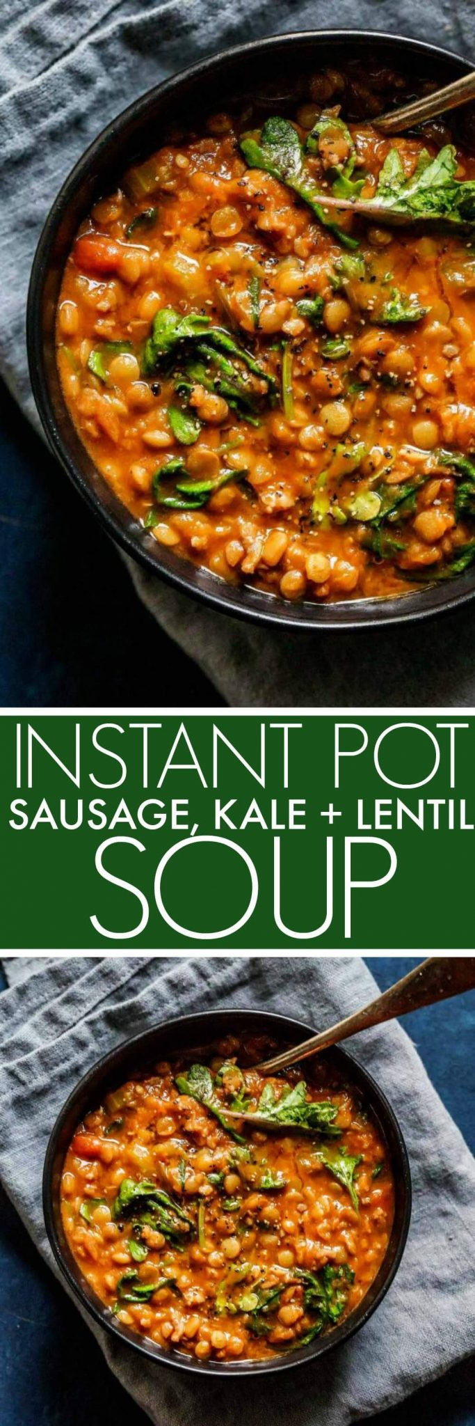 Instant Pot Lentil Soup with Sausage & Kale comes together quickly with the help of your electric pressure cooker. It's a hearty soup that's perfect for chilly days. #soup #lentilsoup #instantpot #pressurecooker #healthy
