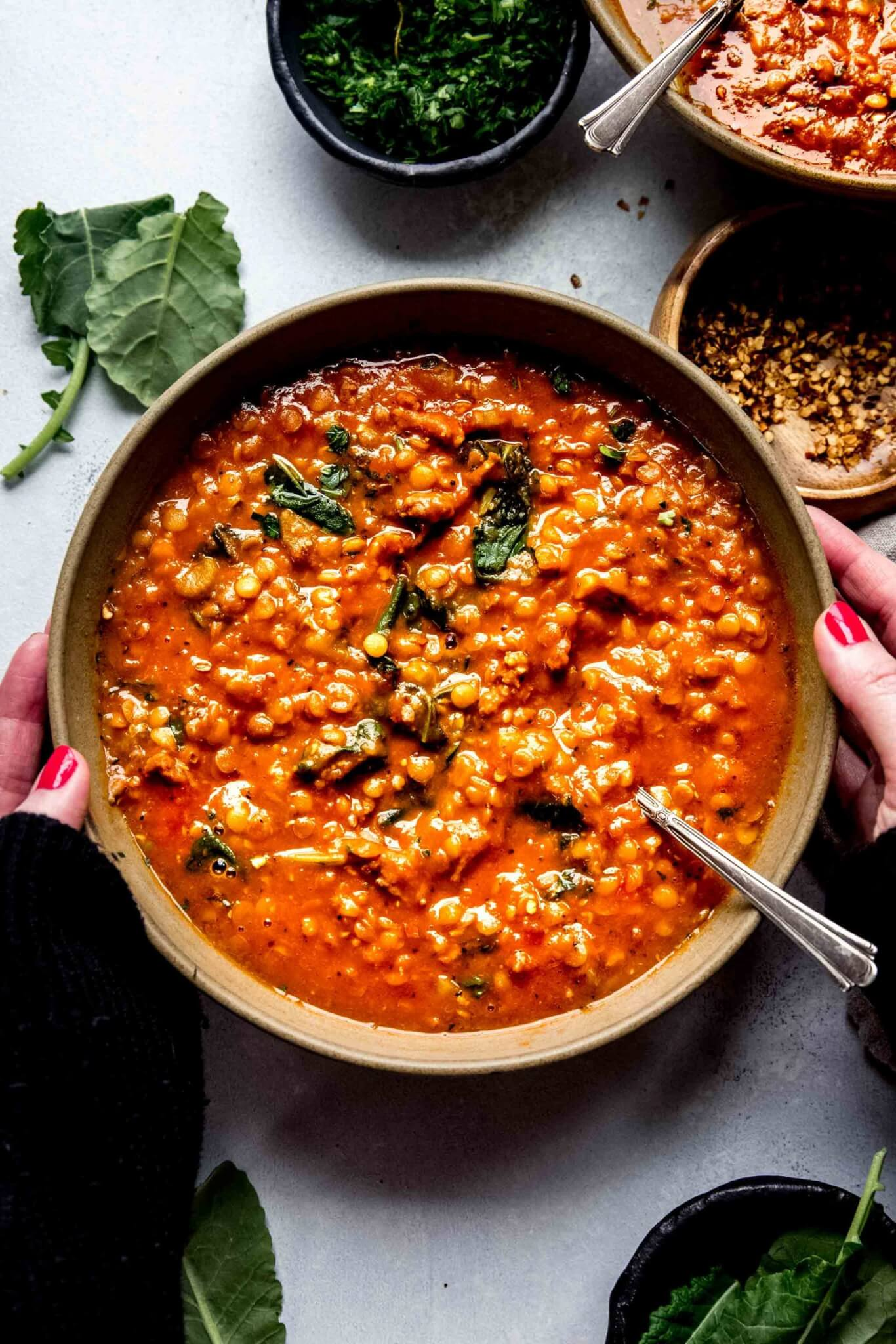Overhead close up of hands holding bowl of lentil soup.