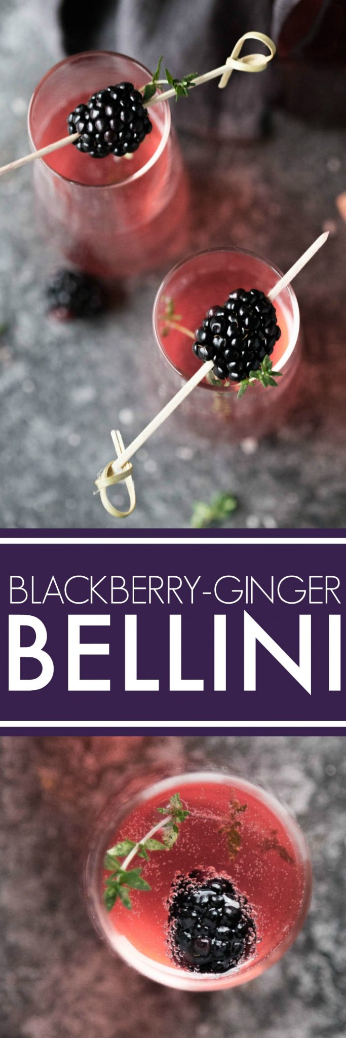This Blackberry Ginger Bellini is a festive sparkling cocktail that's perfect for brunch or festive holiday parties.