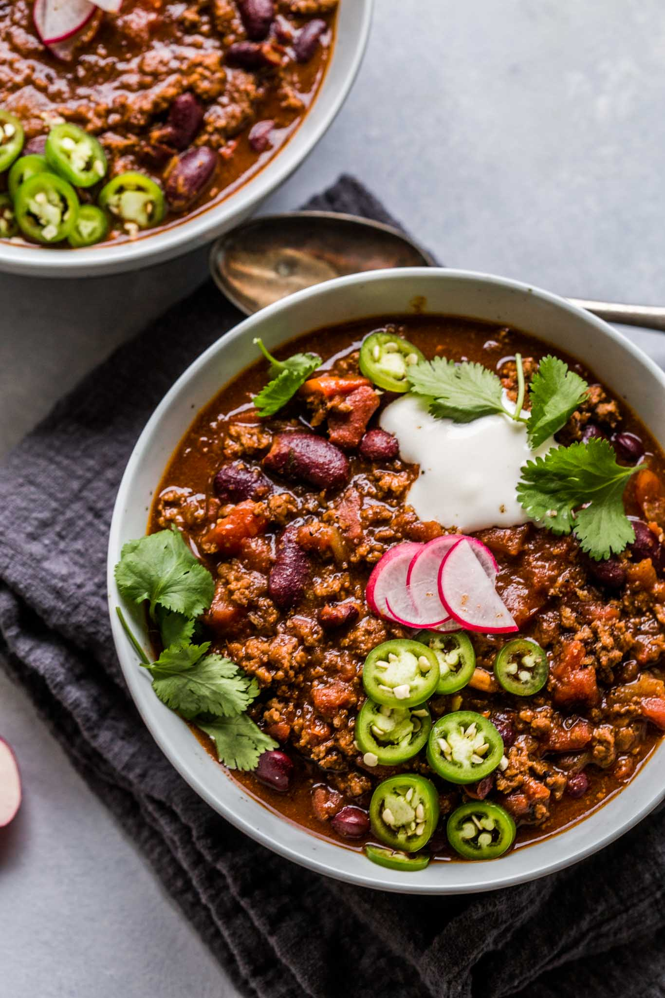 My Spicy Beef & Beer Chili is a hearty one-pot chili that's rich and spicy and perfect for chilly nights.