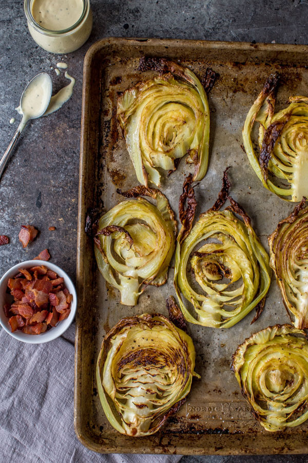 Roasted Cabbage Steaks out of the oven.
