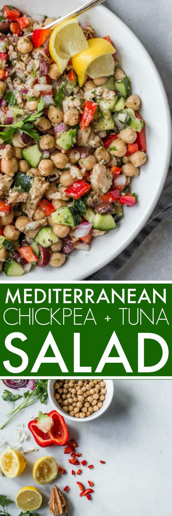 This Mediterranean Chickpea & Tuna Salad is the perfect dish for when you're trying to eat lighter but still want a delicious meal. #salad #chickpea #tuna #tunasalad #chickpeasalad #mediterraneansalad #healthylunch #healthysalad #