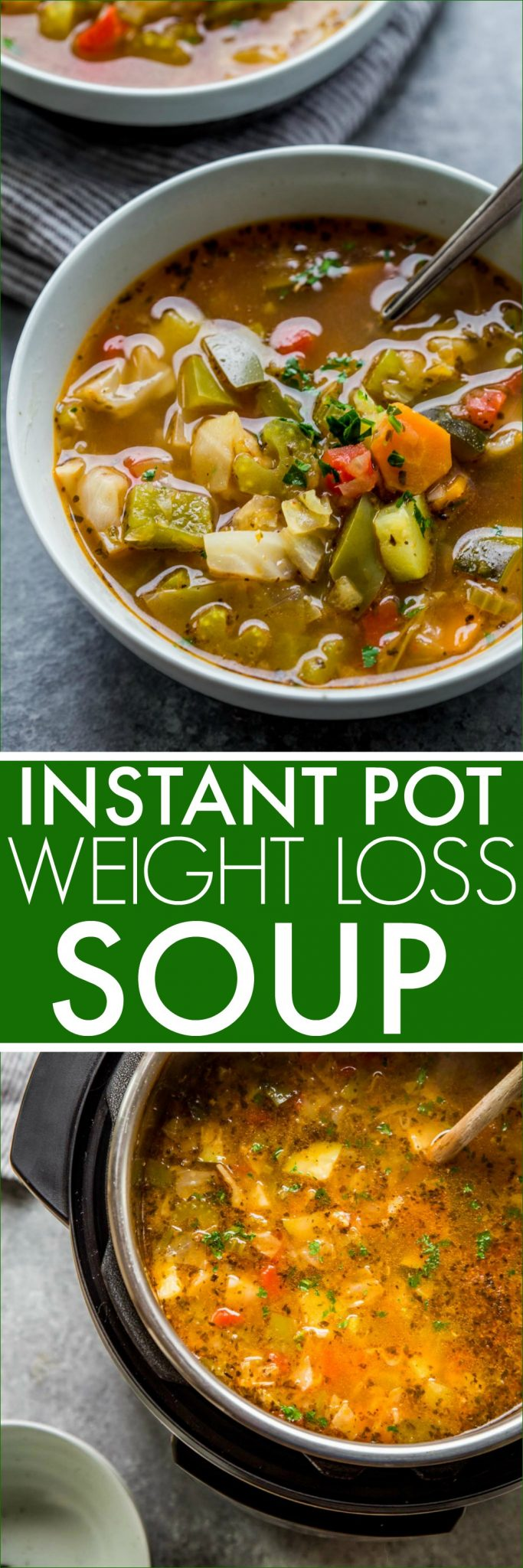 Instant Pot Weight Loss Cabbage Soup is loaded with fresh vegetables. It's high in flavor, yet naturally low in fat and calories. #dietsoup #weightlosssoup #instantpot #instantpotsoup #soup #cabbagesoup