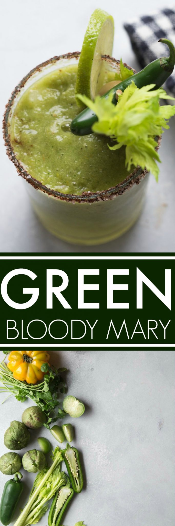 This Green Bloody Mary is perfect for St. Patrick's Day but delicious any time of the year! Made with tomatillos, yellow tomatoes horseradish for a great kick. #bloodymary #stpatricksday #greenbloodymary #cocktail #brunchcocktail