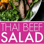 This delicious Thai Beef Salad is tangy, spicy and amazingly delicious. Topped with toasted rice powder for a bit of crunch. It's a healthy salad that tastes so decadent!