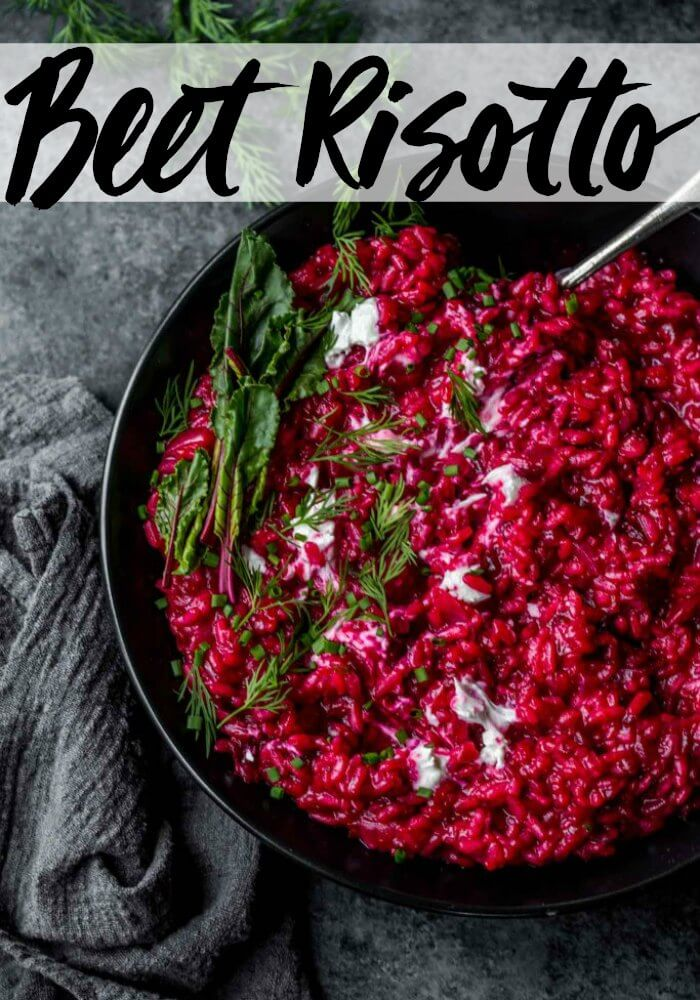 This Beet Risotto with Goat Cheese is a delicious dish that's perfect for Valentine's Day but craveable every day of the year!