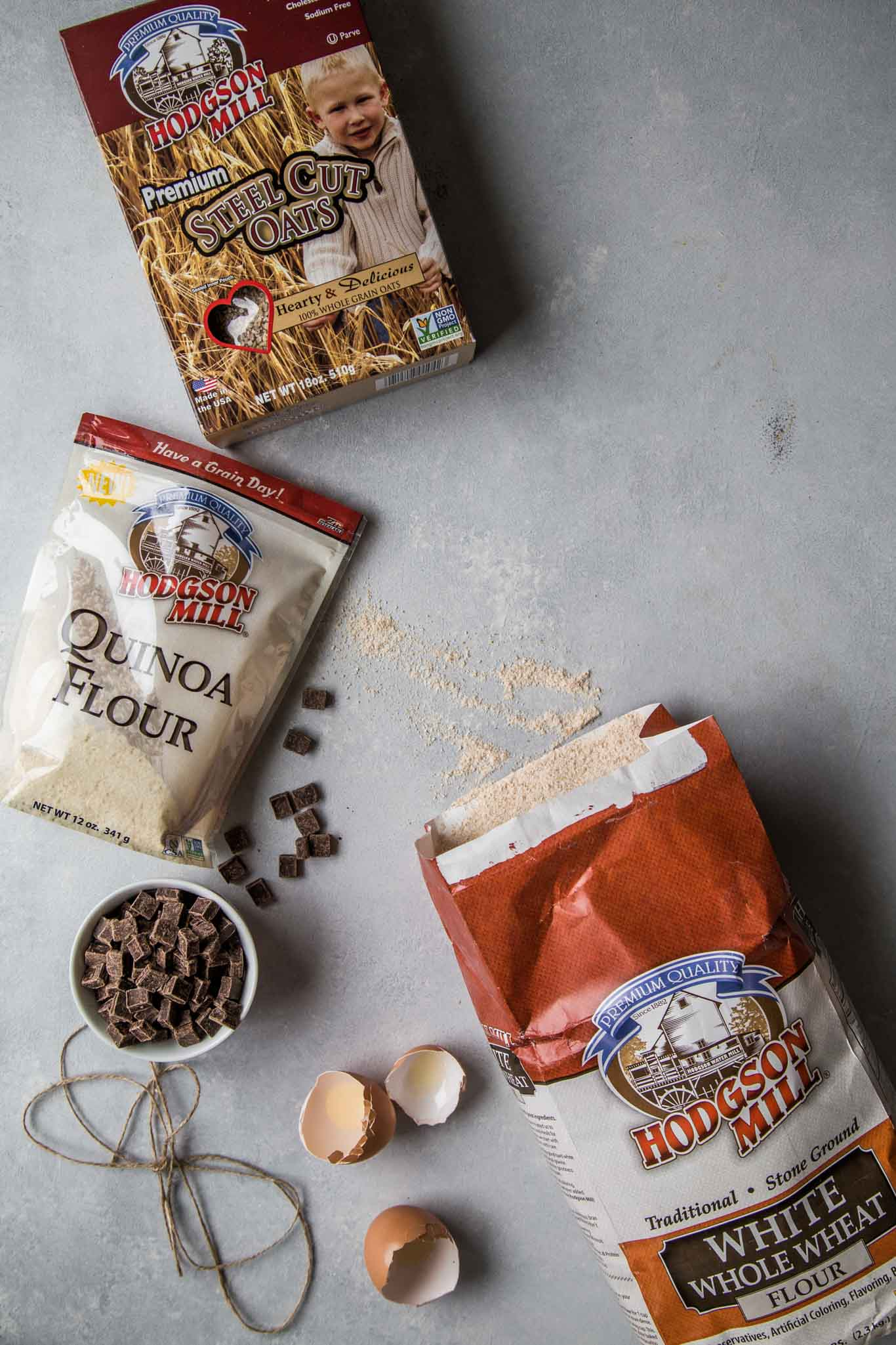 Ingredients for Quinoa Breakfast Cookies with dark chocolate and sea salt