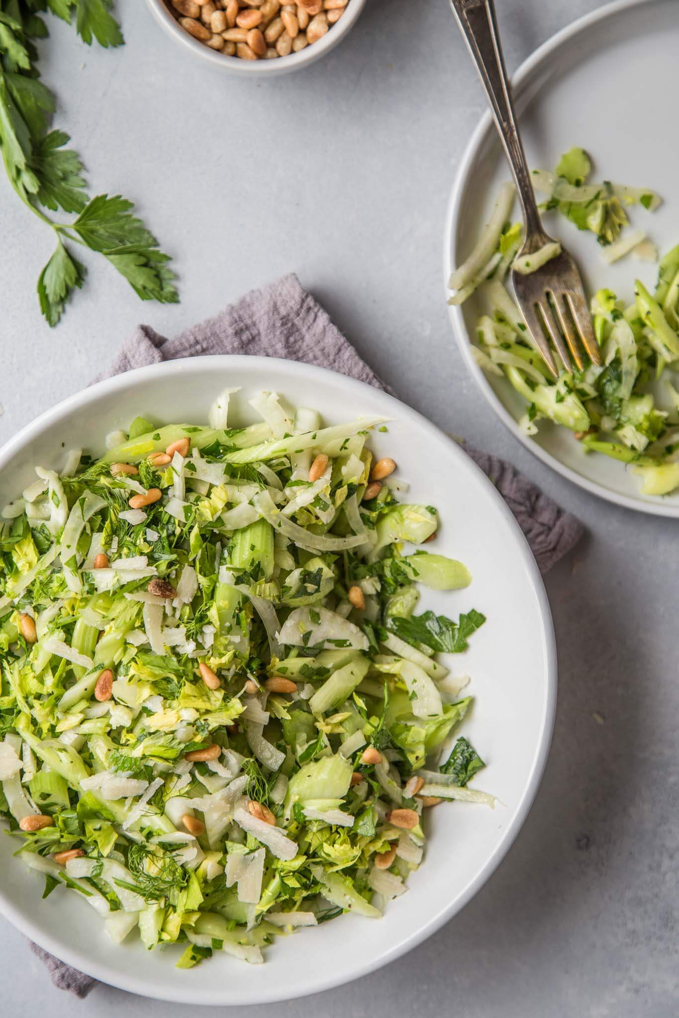 two plates of fennel and celery salad
