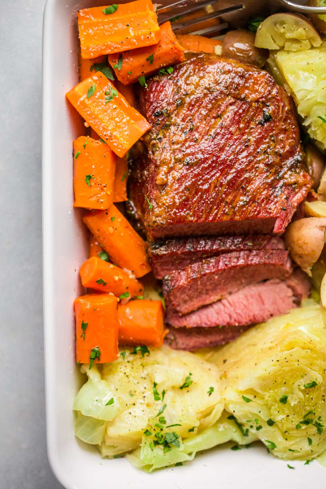 Overhead shot of slow cooker corned beef