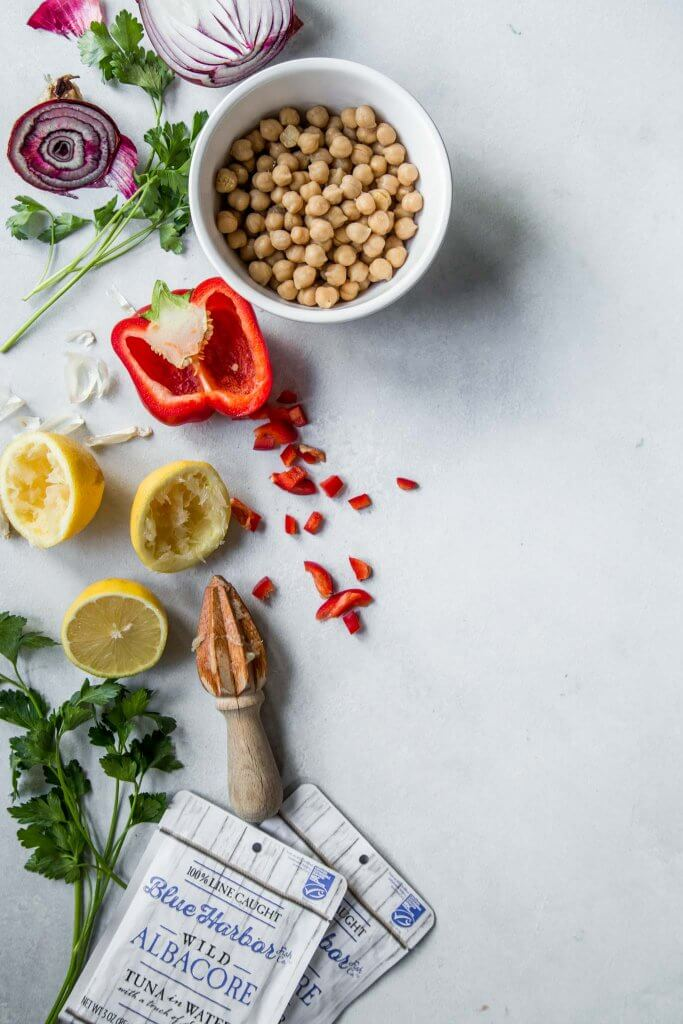Mediterranean Chickpea & Tuna Salad ingredients