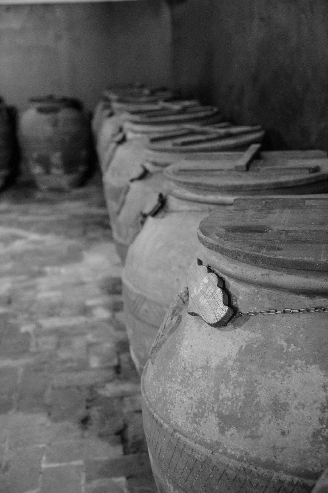 Olive oil large clay vats at Principe Corsini estate