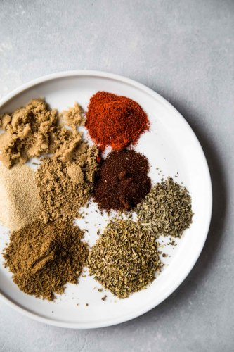 Spices on a plate for the Instant Pot Carnitas