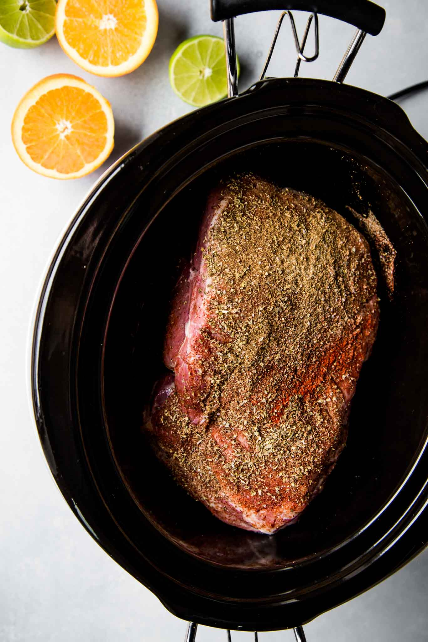 Pork in slow cooker.