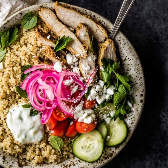 Overhead shot of Chicken Gyro Quinoa Bowls