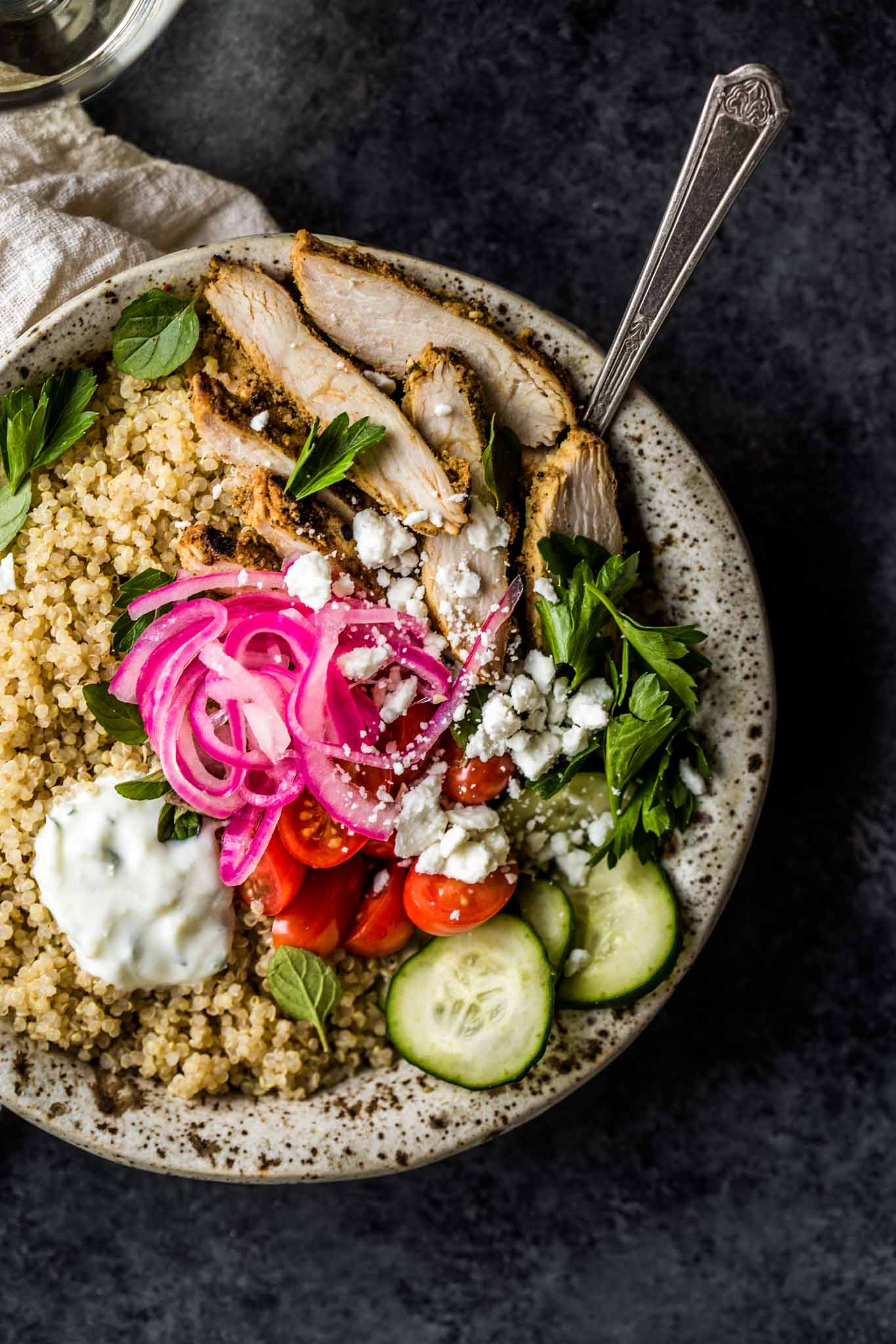 Overhead shot of Chicken Gyro Quinoa Bowls