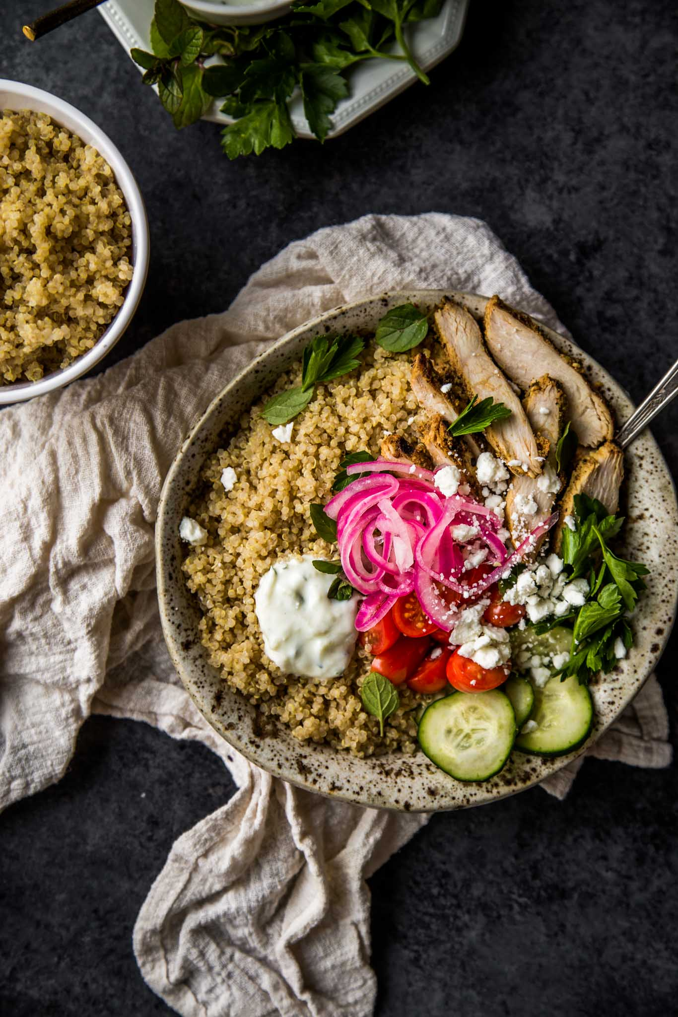 Overhead shot of Chicken Gyro Quinoa Bowl