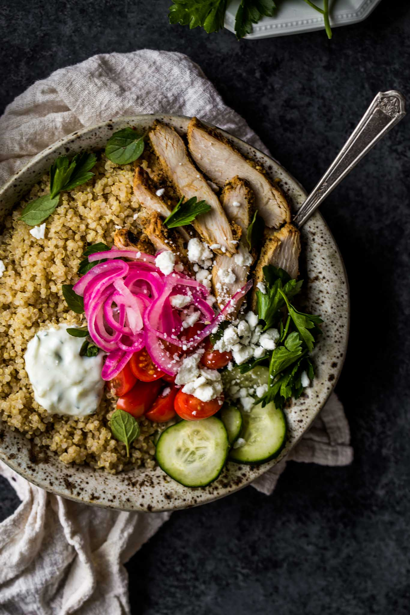 Overhead shot closeup of Chicken Gyro Quinoa Bowls