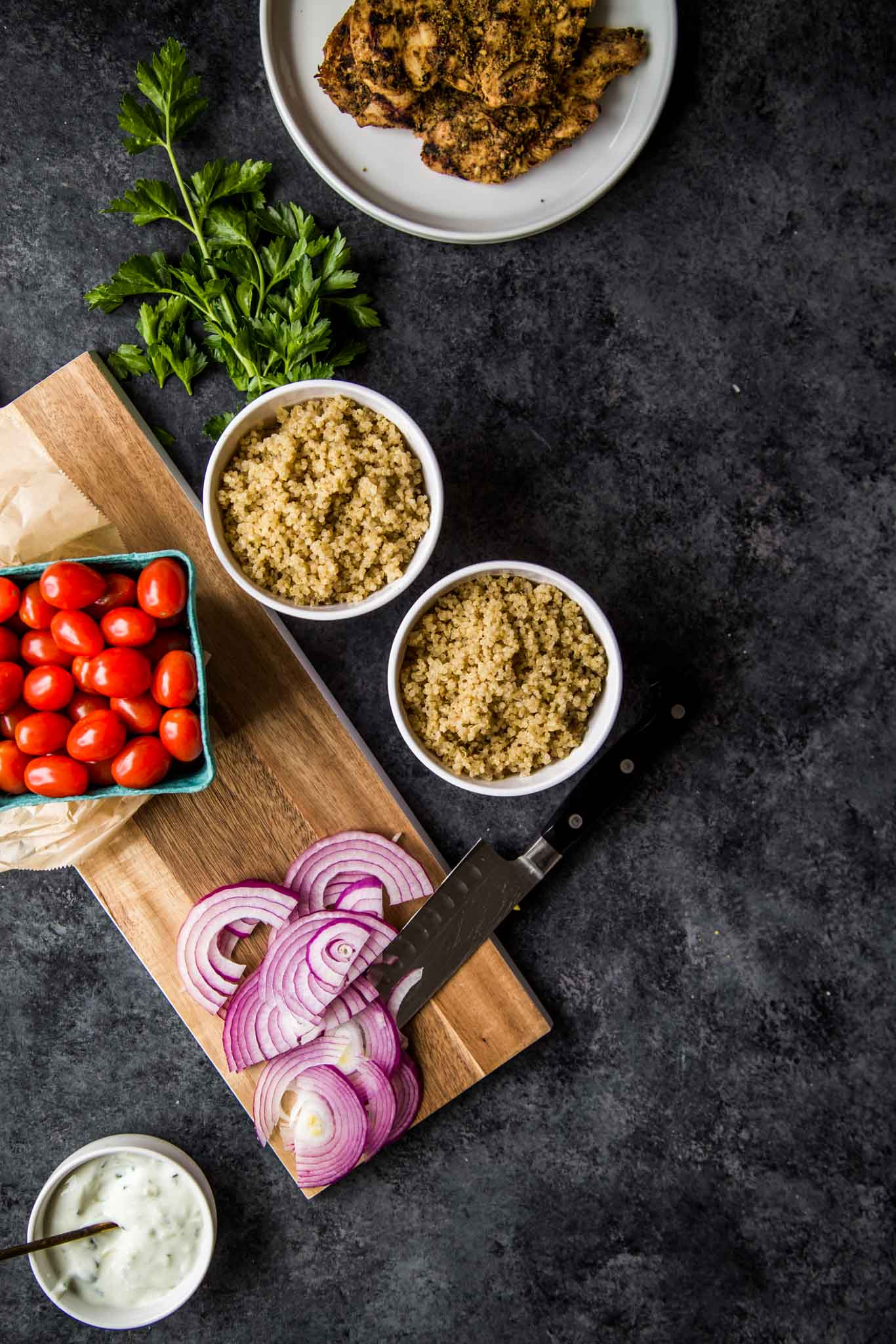 Ingredients for Chicken Gyro Quinoa Bowls