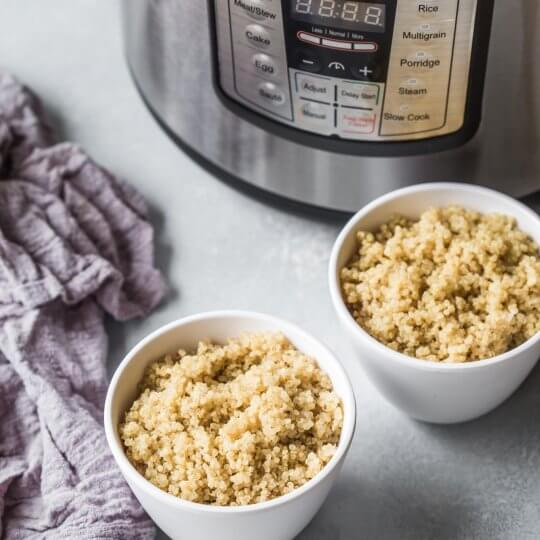 Two bowls of perfect quinoa made in the Instant Pot.