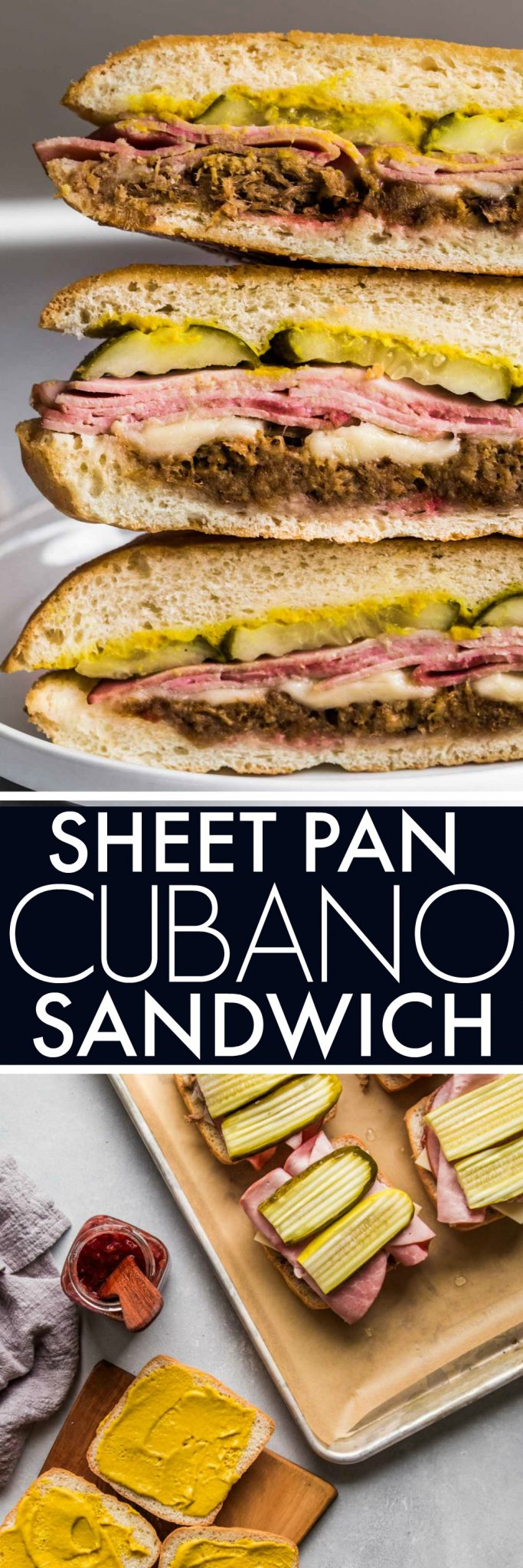 This Sheet Pan Cubano Sandwich with Cherry-Rhubarb Jam is the ultimate cubano sandwich recipe. Thinly sliced ham, cuban marinated pork and gruyere cheese are layered with pickles, mustard and a tart cherry-rhubarb jam and then baked on a weighted sheet pan, resulting in a crispy, delicious sandwich. #sandwich #cubansandwich #cubano #cubanosandwich
